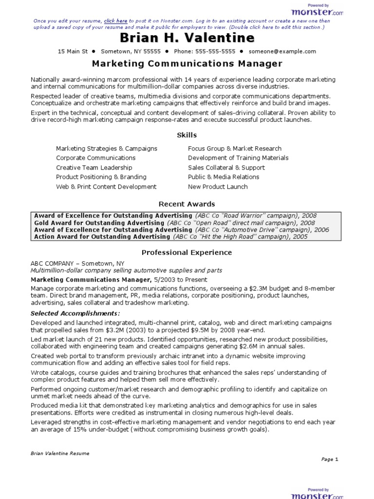 Cv Marketing Communications Manager Resume