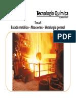 Tema 5 Estado Metálico - Aleaciones - Metalurgia General