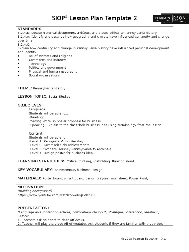 Siop Lesson Plan Lesson Plan Vocabulary