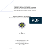 An Analysis and Report on the Thesis Entitled IMPROVING STUDENTS' ACHIEVEMENT ON READING NARRATIVE TEXTS FOR THE SECOND YEAR STUDENTS OF SMAK DIPONEGORO BLITAR THROUGH TBI (TASK BASED INSTRUCTION) BY ANDREAS