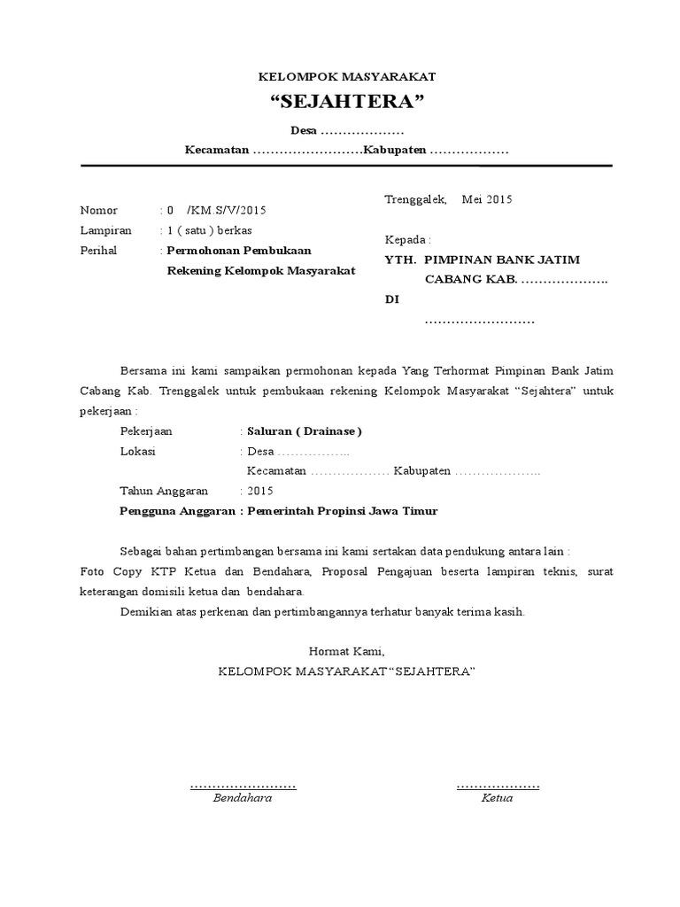 Format Permohonan Pembukaan Rekening Bank Jatim Untuk Kelompok Masyarakat