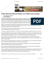 China Threatens Barack Obama Over Dalai Lama Meeting