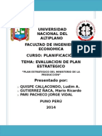 (Planificacion) Evaluacion Del Plan Estrategico Ministerio de La Produccion Trab Final