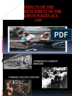 Effects of the Commencement of Minimum Wages Act 1948