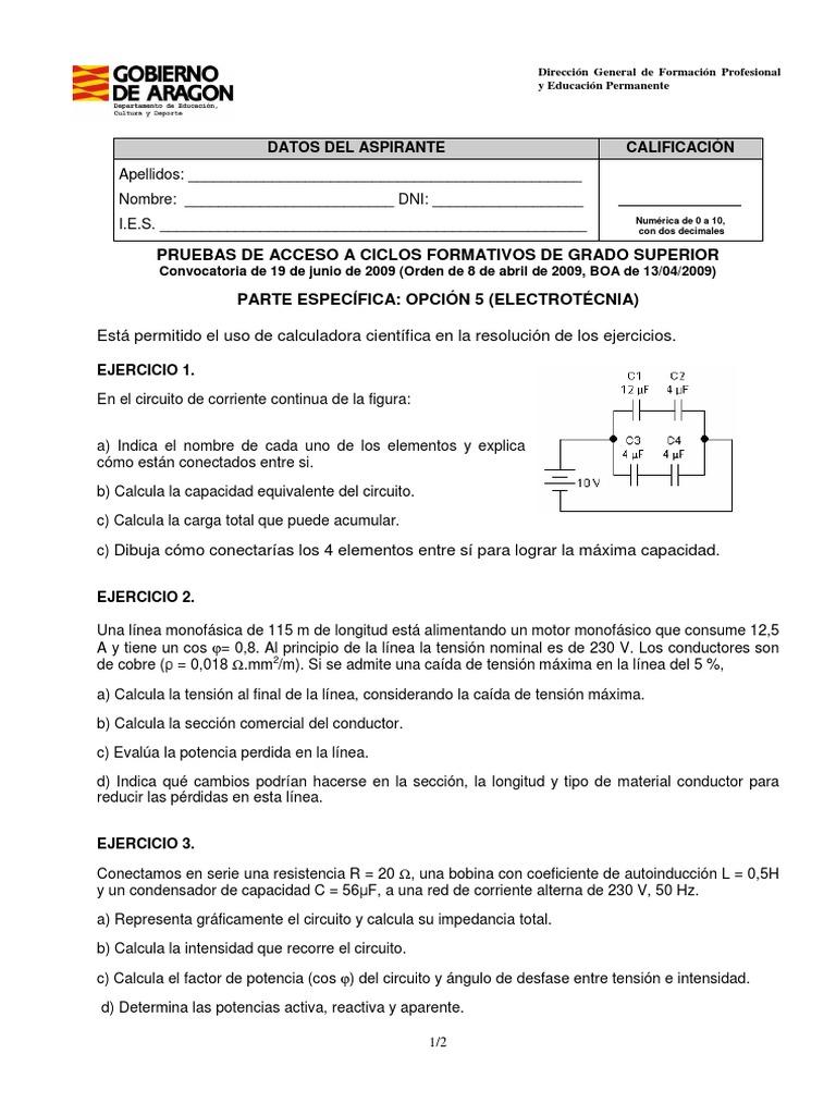 Aragon 2009 Examen Electrotecnia Acceso Grado Superior