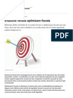 Evaziune Versus Optimizare Fiscala