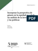 Incorporar la perspectiva de género en la equidad en salud- un análisis de la investigación y las políticas