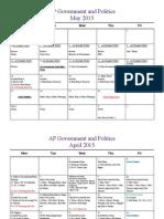 ap government semester 2 calendar