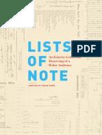 Lists of Note (Excerpt)