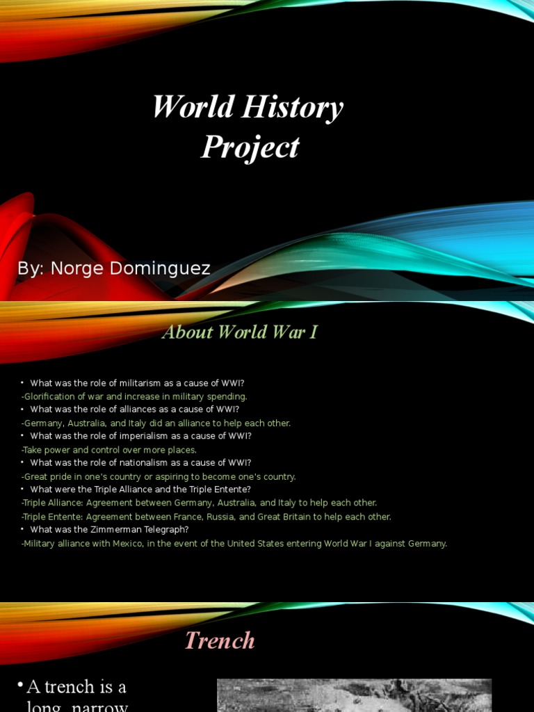 World History Pro World War I Trench Warfare
