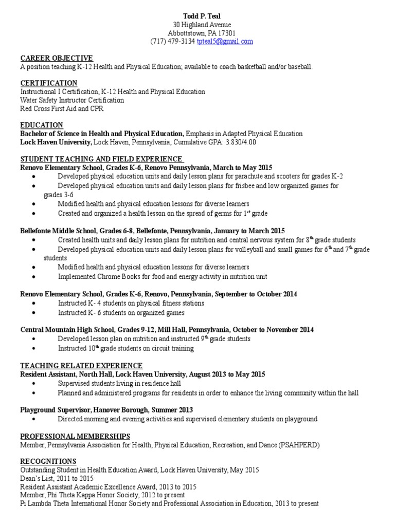 Todd P Teal Resume Updated May 2015 Physical Education Grading