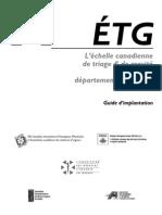 ETG -  Echelle Canadienne de Triage Et de Gravite