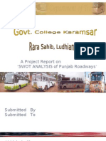 Swot Analysis of Punjab Roadways