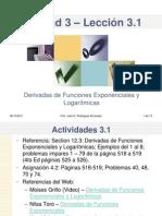 Lección 3.1 Derivadas de Funciones Exponenciales y Logaritmicas