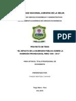 Impacto de la Inversión publica en la la inversión privada en el Perú (proyecto de investigación)
