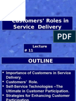 Cust Roles in Serv Delivery-Lect # 11