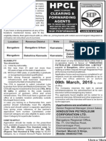 Notification HPCL Clearing Forwarding Agent Posts
