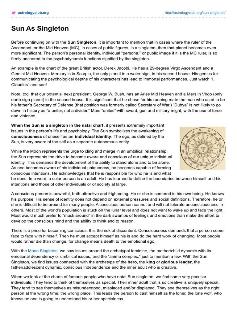 Astrologyclub Sun As Singleton Consciousness Identity