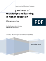 Changing cultures of knowledge and learning in higher education
