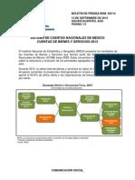 Sistema de Cuentas Nacionales de Mexico, Cuentas de Bienes y Servicios 2013-Boletin Num. 403:14-12 de Septiembre 2014