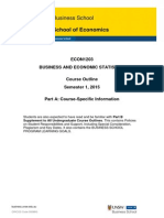 ECON1203 Business and Economic Statistics PartA S12015