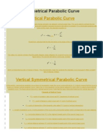 Symmetrical Parabolic Curve