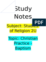 Study Notes - SOR - Baptism