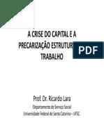 LARA, Ricardo. a Crise Do Capital e a Precarização Estrutural Do Trabalho.