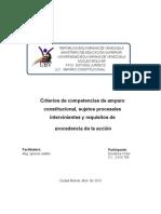 Criterios de Competencias Para Conocer de Las Acciones de Amparo Constitucional