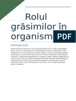 Rolul Grasimilor in Organism