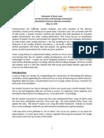 KOR Group-Healthy Markets Written Statement
