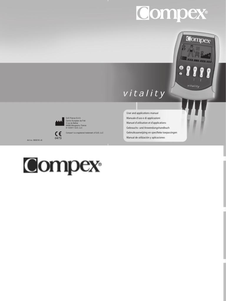 marque populaire belle et charmante couleur n brillante Compex Vitality en, It, Fr, De, Nl, Es | Batería ...