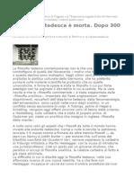 Di Cesare La Filosofia Tedesca è Morta. Dopo 300 Anni.
