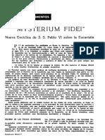 Resumen Mysterium Fidei