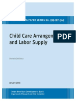 Child Care Arrangements and Labor Supply