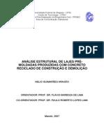 Análise Estrutural de Lajes Pré-moldadas Produzidas Com Betão Reciclado