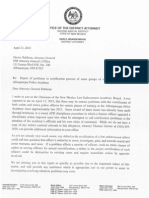 Letter from DA Kari Brandenburg to AG Hector Balderas with concerns about police training