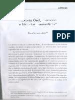 Historia Oral. Memoria e historias traumáticas. -Dora Schwarzstein