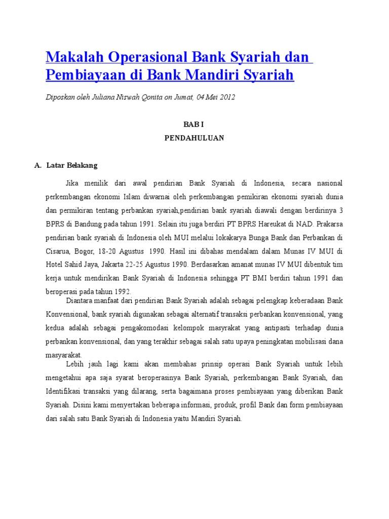 Makalah Operasional Bank Syariah Dan Pembiayaan Di Bank Mandiri Syariah Doc