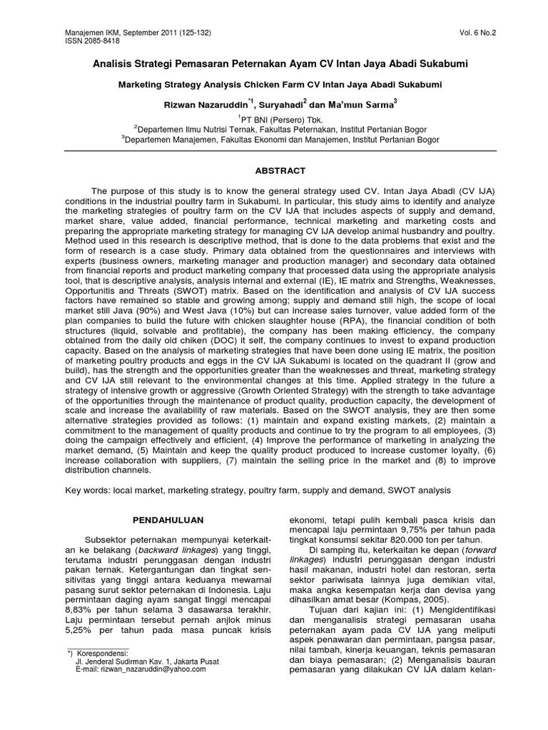 Analisis Strategi Pemasaran Peternakan Ayam CV Intan Jaya