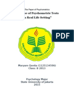 Paper - The Use Of Psychometric Tests on Real Life Setting
