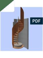 Vue 3D d'un escalier en colimaçon