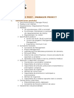 FISA de POST Manager Proiect
