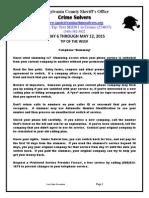 Spotsylvania Crime Solvers Report 5/6 - 5/12/2015