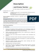 Teacher of English and Drama JD May 15