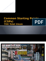 Common Starting Points (CSPs)