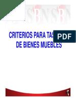 CRITERIOS PARA TASACIÓN DE BIENES MUEBLES