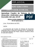 CUADRO DE VALORES DE LOS ARANCELES JUDICIALES PARA EL EJERCICIO GRAVABLE DEL AÑO 2015