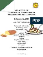 Nelsonville Volunteer Firefighters Benefit Spaghetti Dinner February