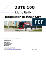 Route 100 Light Rail - Doncaster to Inner City by Victorian Transport Action Group (VTAG) Version 2